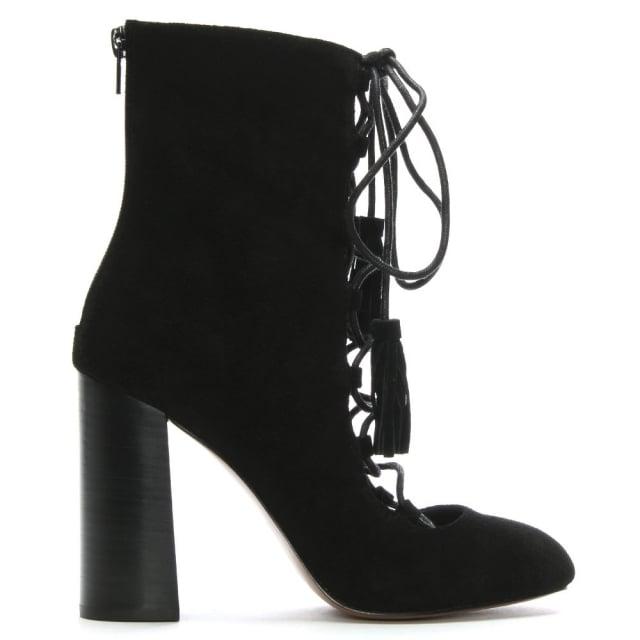 Shellys London Farrington Black Suede Ghillie Shoe Boots