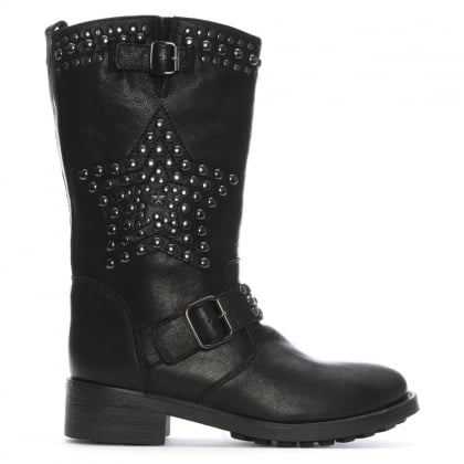 Fatha Black Leather Studded Biker Calf Boots