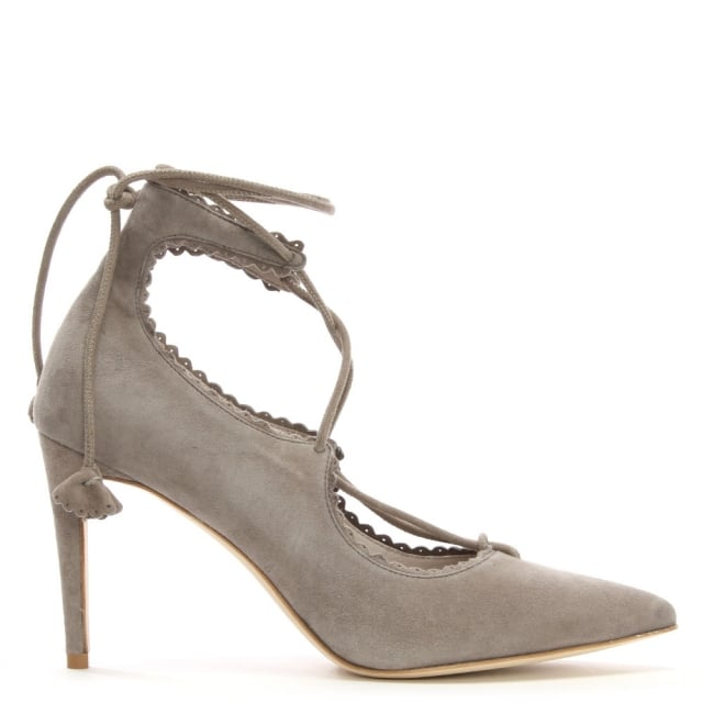 Faulkner Grey Suede Lace Up Court Shoes