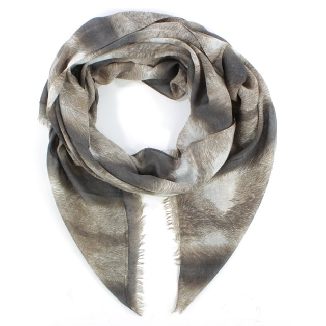 Feather Print Beige Scarf