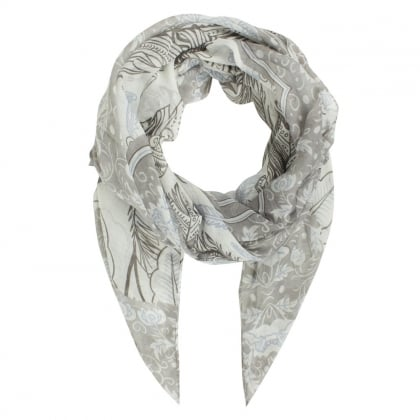 Feather Print Grey Scarf