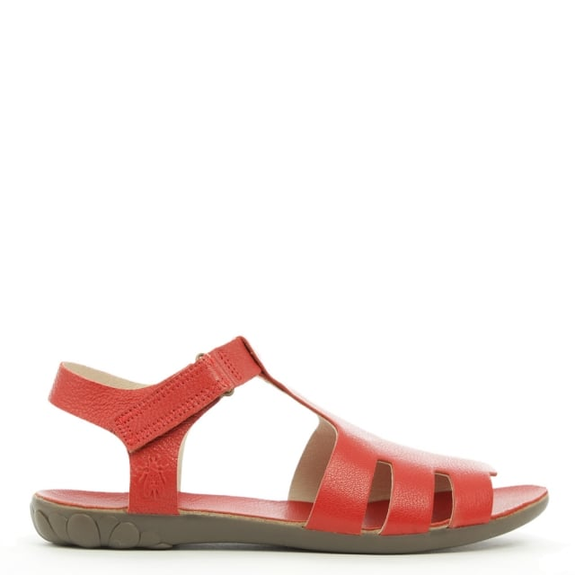 Fely Red Leather High Fronted Sandal