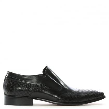 Feniton Black Leather Square Punch Loafers