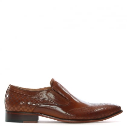 Feniton Tan Leather Square Punch Loafers