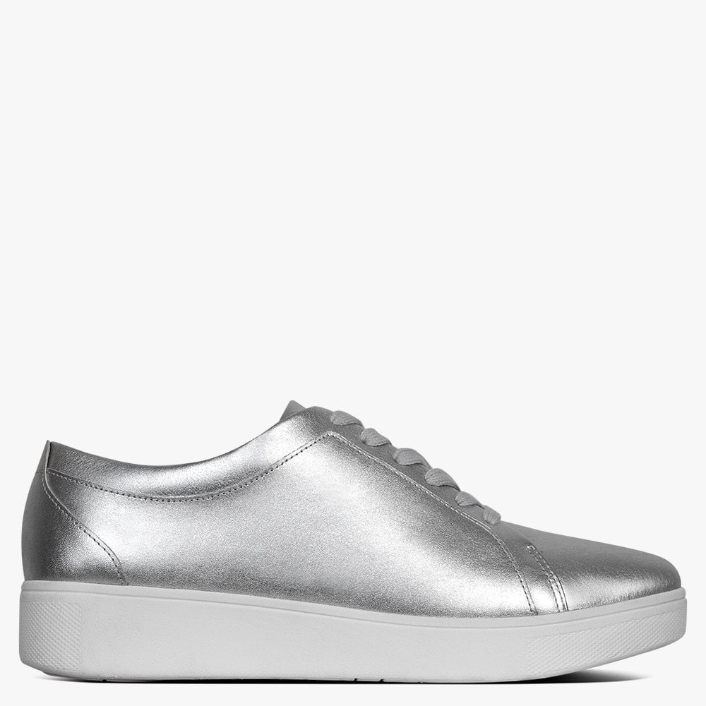 FitFlop Rally Silver Leather Trainers