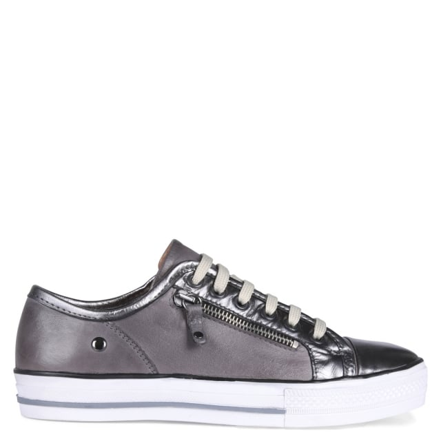 Fianntas Pewter Leather Zip Detail Trainers