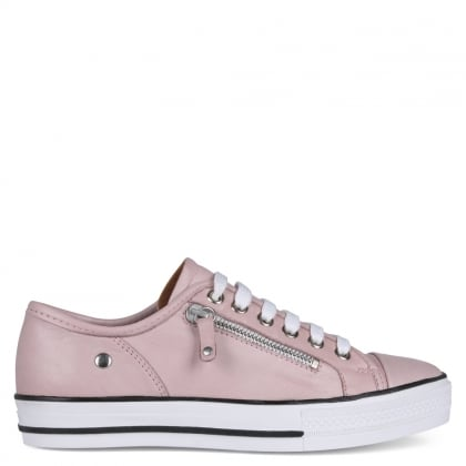 Fianntas Pink Leather Zip Detail Trainers