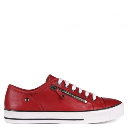 Fianntas Red Leather Zip Detail Trainers