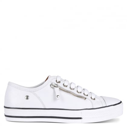 Fianntas White Leather Zip Detail Trainers