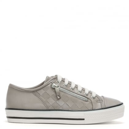 Fiarley Grey Leather Lace Up Trainers