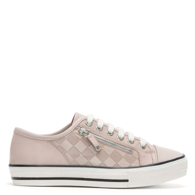 Fiarley Pink Leather Lace Up Trainers