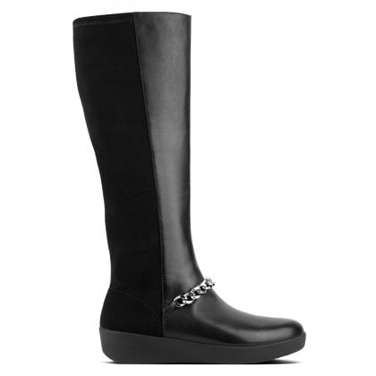 Fifi Black Leather Chain Knee Boots