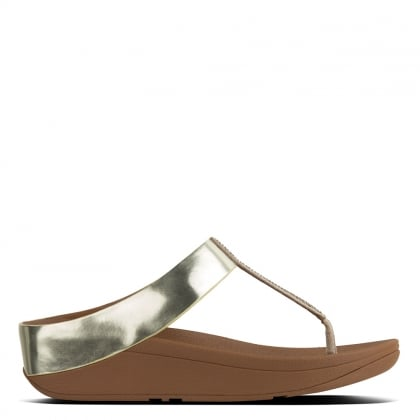 Fino Gold Leather Glitter Toe Post Sandals