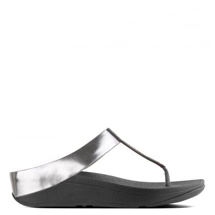Fino Pewter Leather Glitter Toe Post Sandals