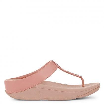 b9a550bbff6 Fino Pink Leather Glitter Toe Post Sandals
