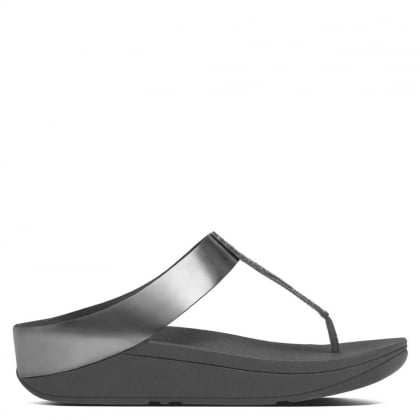 Fino Silver Leather Glitter Toe Post Sandal