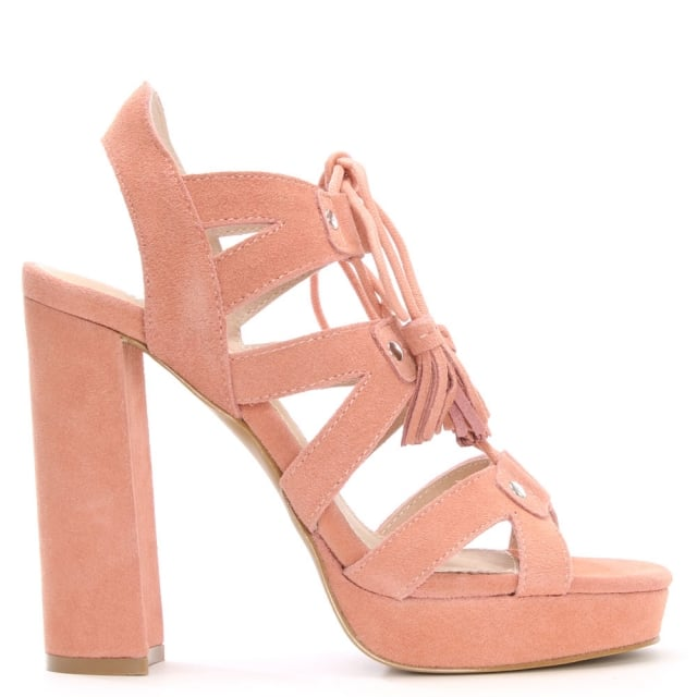 Fiona Pink Suede Lace Up Platform Sandals