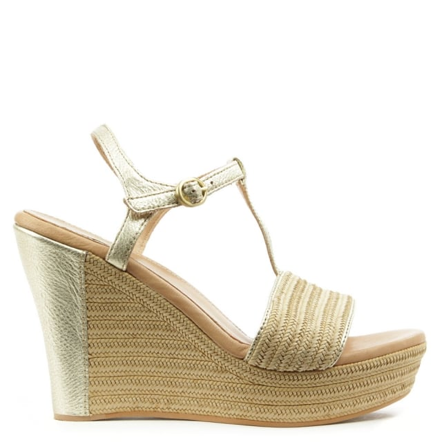 Fitchie Metallic Leather T-Strap Jute Sandal