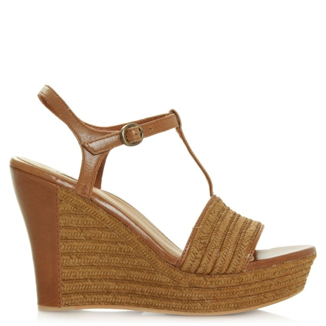 Fitchie Tan Leather T-Strap Jute Sandal