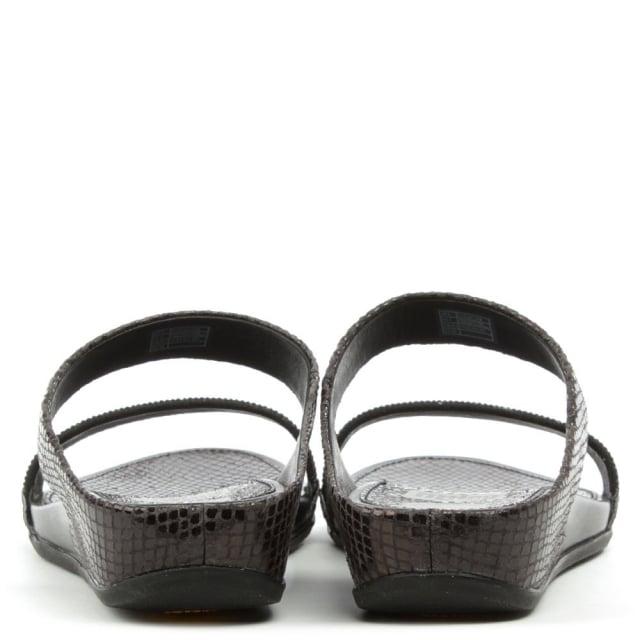 8446265908b2 FitFlop Banda Micro Crystal Slide Black Reptile Sandal
