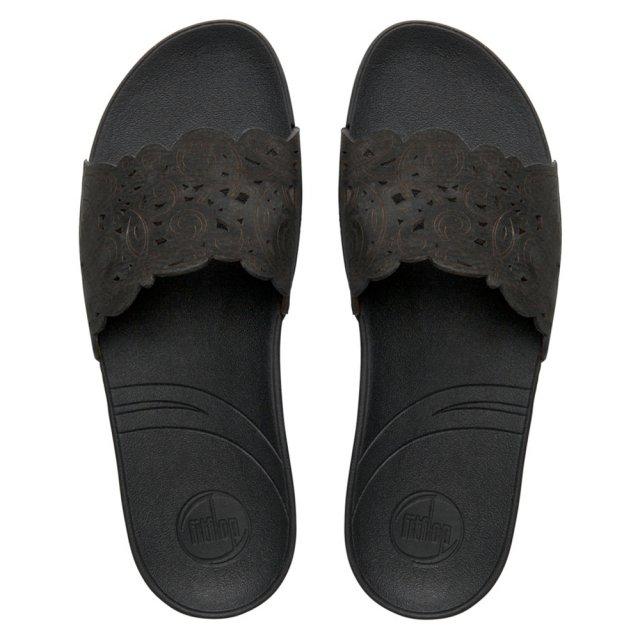 7bd538b7c FitFlop FLORA SLIDE™ Black Thick Laser Cut Single Mule Sandal