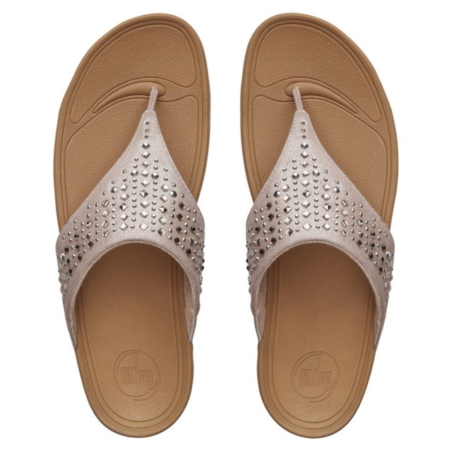 e48f11834c41b FitFlop NOVY ™ Nude Metal Studded Leather Toe Post Sandal