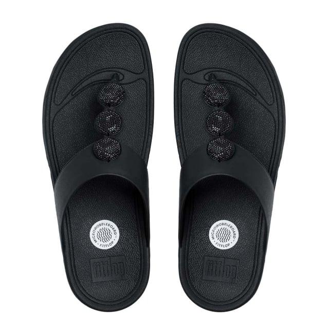 66d572e1e6bf93 FitFlop Petra Sugar Leather Toe Post Flip Flop