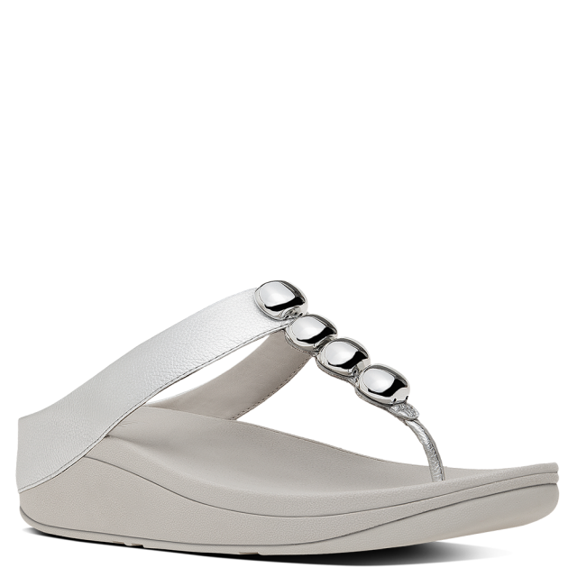 94ab408e9 FitFlop Rola Silver Leather Toe Post Sandal