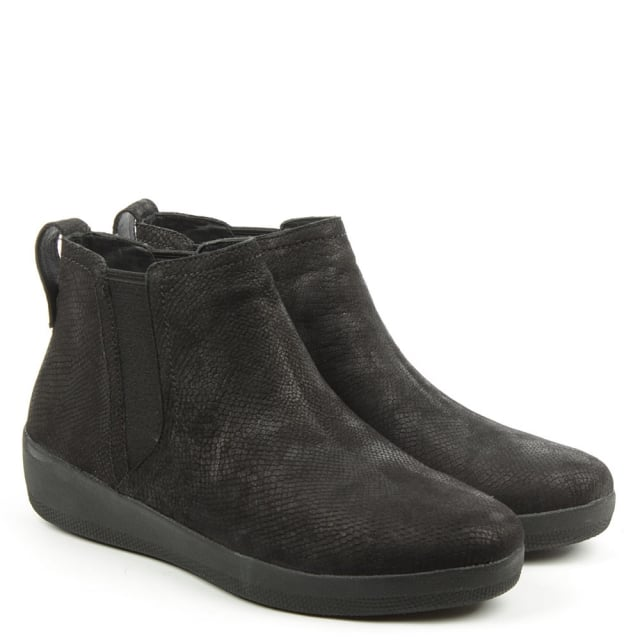 fb5c4ce6f883 FitFlop Superchelsea Snake Embossed Black Leather Chelsea Boot