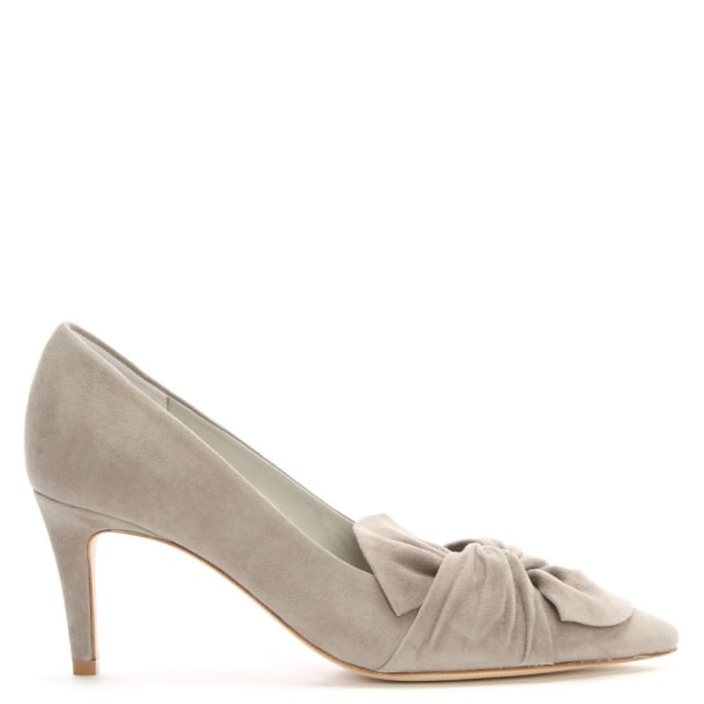 Fitzgerald Grey Suede Knotted Bow Court Shoes