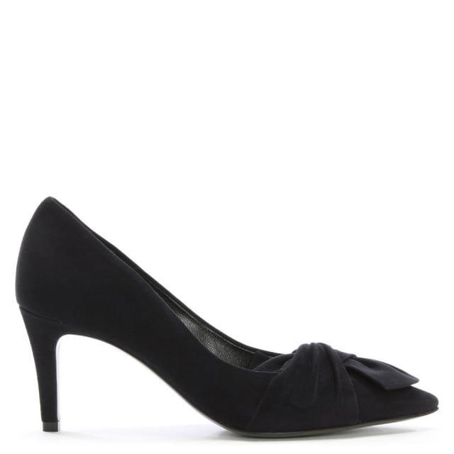 Fitzgerald Navy Suede Knotted Bow Court Shoes