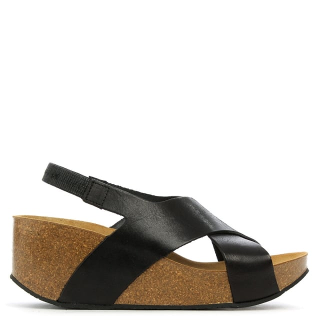 Flagstaff Black Leather Cross Strap Mid Wedge Sandal