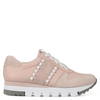 Flanagan Pink Suede Cleated Flatform Trainers