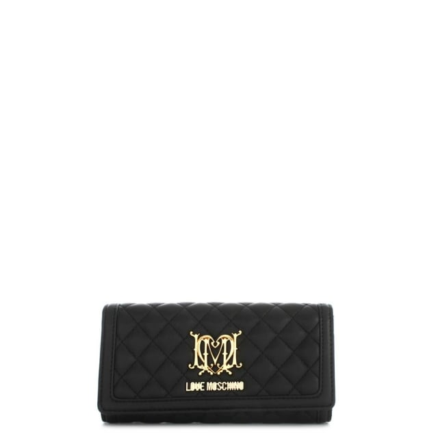 Love Moschino Flapover Black Quilted Wallet