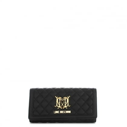 Flapover Black Quilted Wallet