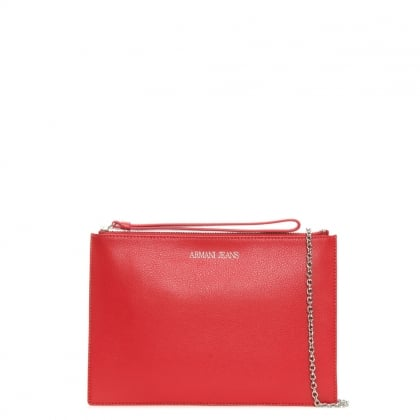 Flat Red Leather Wallet Strap Bag
