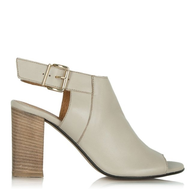 Flaunter Taupe Leather Sling Back Sandal