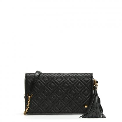 Fleming Black Leather Quilted Cross-Body Bag