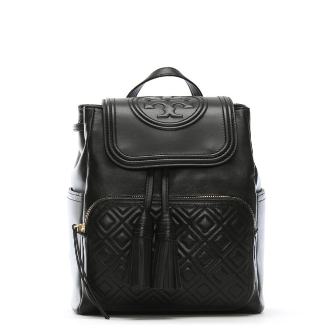 Tory Burch Fleming Black Leather Quilted Logo Backpack