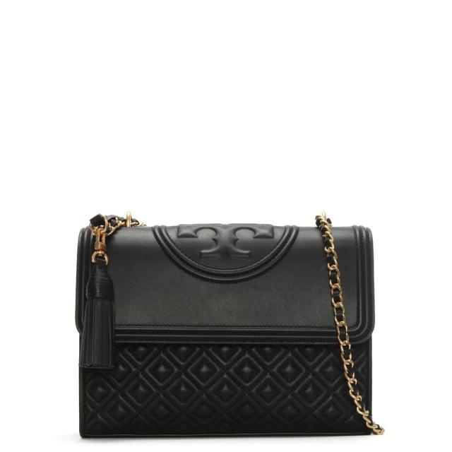 Tory Burch Fleming Convertible Black Leather Shoulder Bag