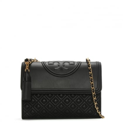 Fleming Convertible Black Leather Shoulder Bag