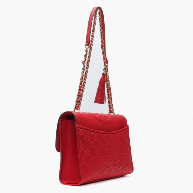 04b8aba9581 Tory Burch Fleming Convertible Brilliant Red Leather Shoulder Bag