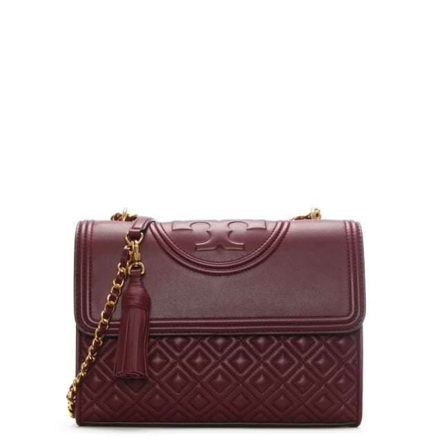 Tory Burch Fleming Convertible Imperial Garnet Leather Shoulder Bag