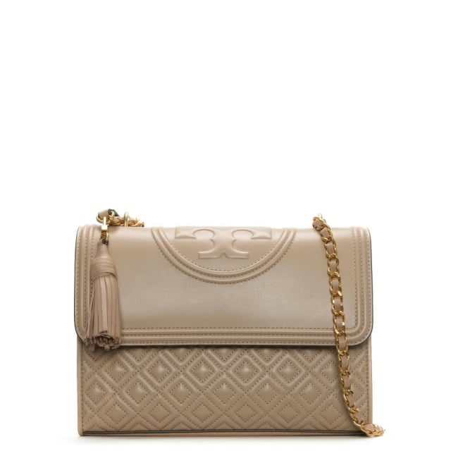 Tory Burch Fleming Convertible New Mink Leather Shoulder Bag