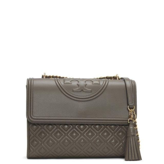 73e457edc70e3 Tory Burch Fleming Convertible Silver Maple Leather Shoulder Bag