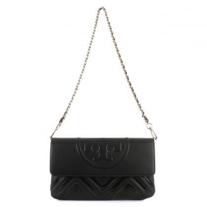 Fleming Geo Black Leather Clutch