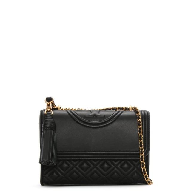 Tory Burch Fleming Small Convertible Black Leather Shoulder Bag
