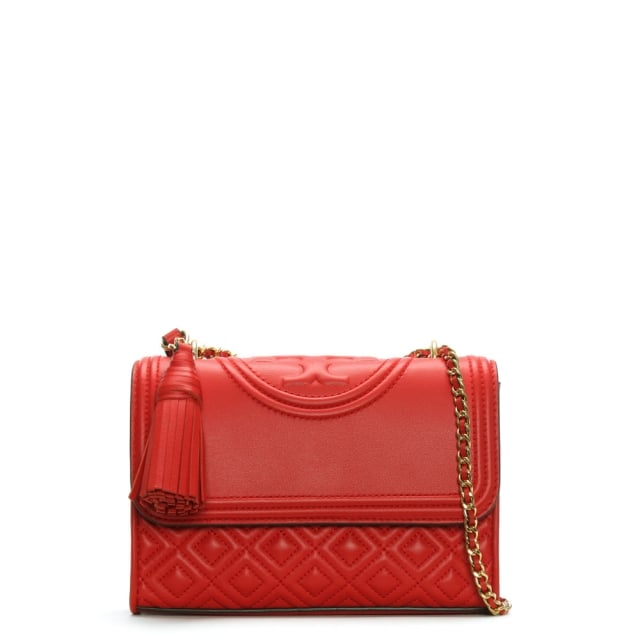 Tory Burch Fleming Small Convertible Exotic Red Leather Shoulder Bag