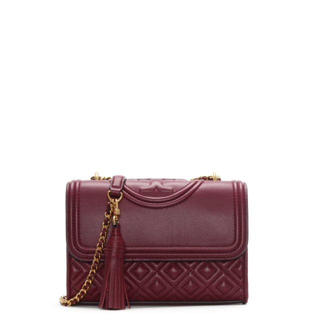 Tory Burch Fleming Small Convertible Imperial Garnet Leather Shoulder Bag