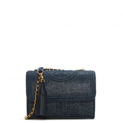 Fleming Small Convertible Navy Denim Suede Shoulder Bag